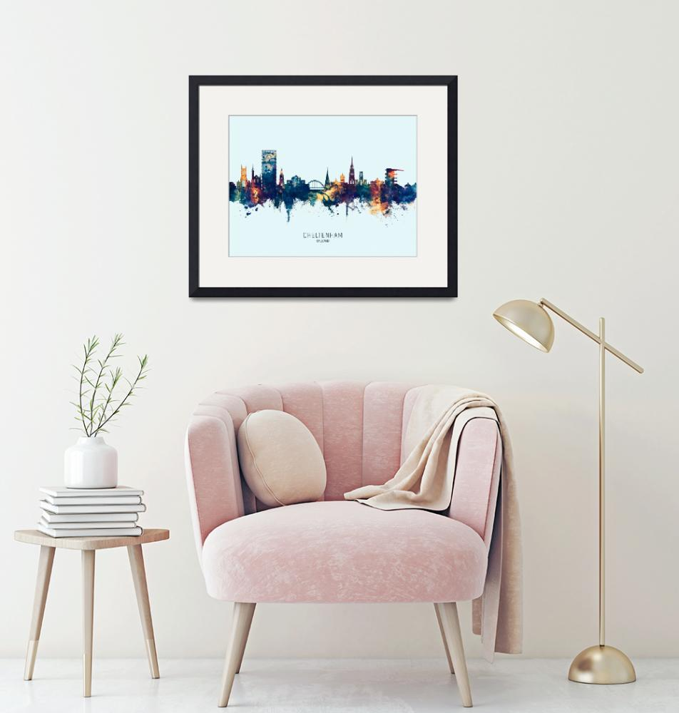 """Cheltenham England Skyline""  (2019) by ModernArtPrints"