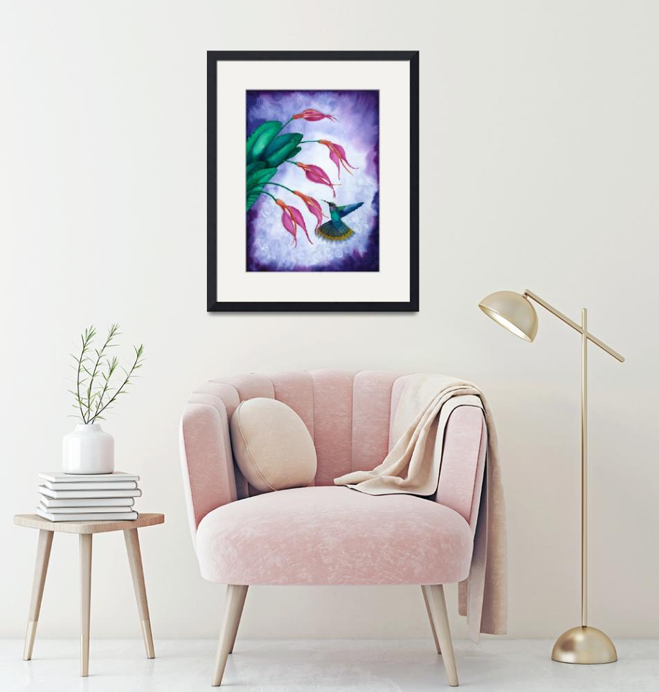 """Hummingbird and Orchid Watercolour""  by savanna"