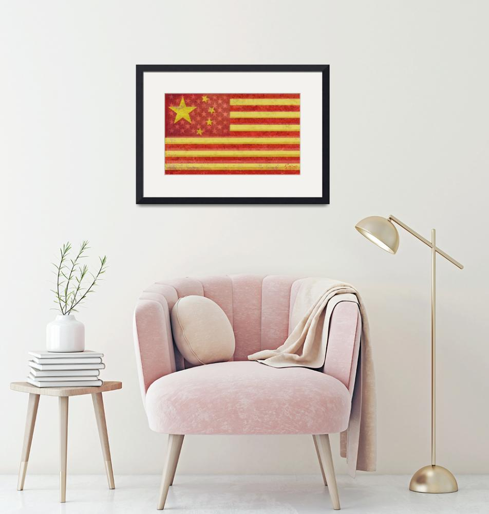 """""""Chinese American Flag Blend"""" by RubinoFineArt"""