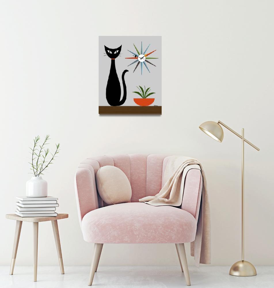 """Cat on Tabletop Starburst Clock"" (2021) by DMibus"