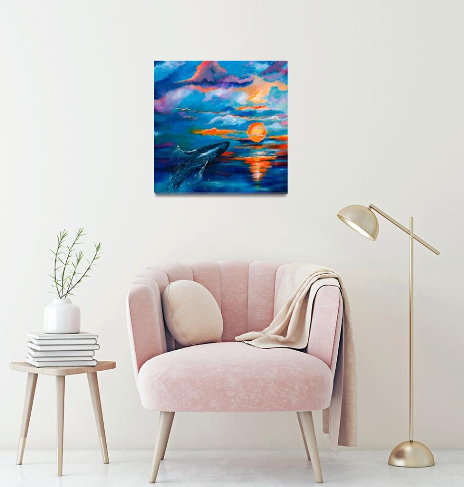 """""""Whale Sunset Square Original Painting by Ginette""""  (2010) by GinetteCallaway"""