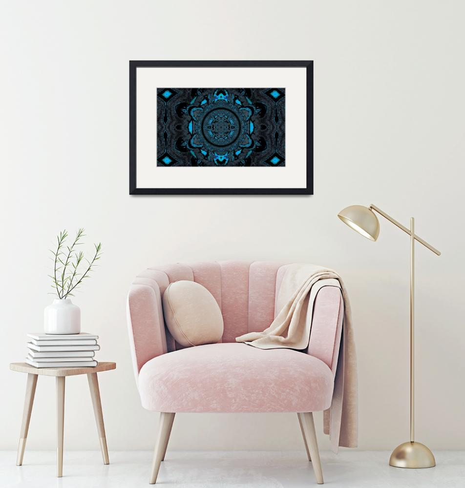 """Lotus Mandala in Sky Blue and Black Pastels""  by Atlantis-Seeker-Art"