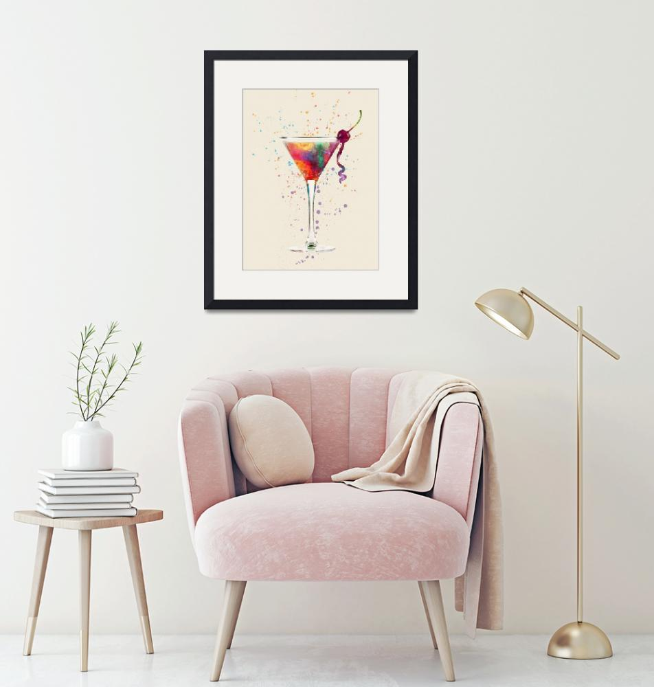 """Cocktail Drinks Glass Watercolor"" (2017) by ModernArtPrints"