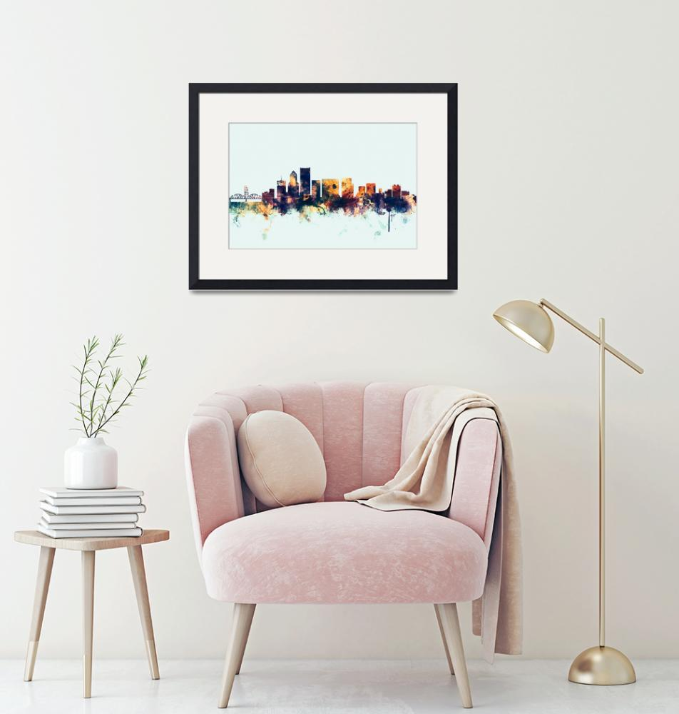 """Portland Oregon Skyline"" (2016) by ModernArtPrints"