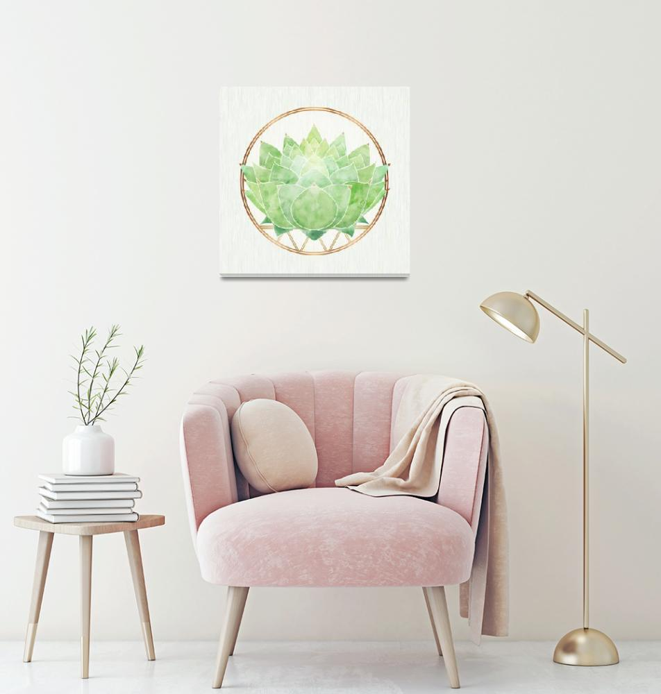 """Green Zen Lotus Flower""  (2018) by moderntropical"