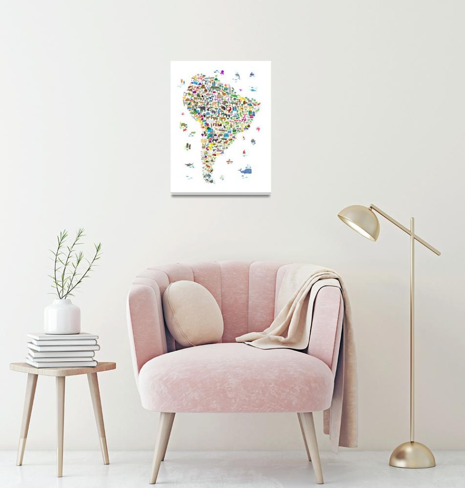 """Animal Map of South America for children and kids""  (2018) by ModernArtPrints"