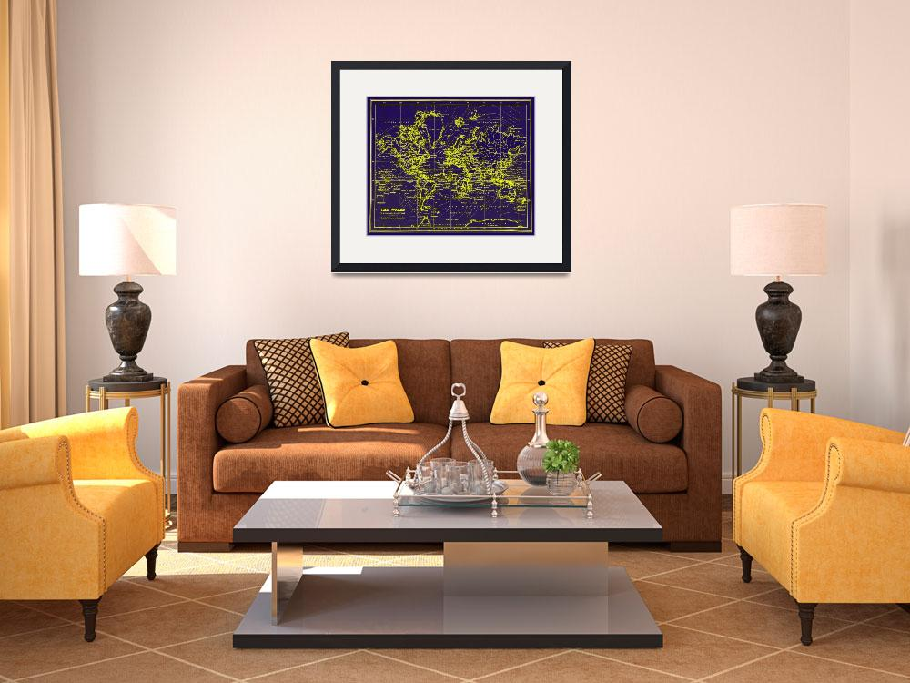 """World Map (1899) Blue & Yellow&quot  by Alleycatshirts"