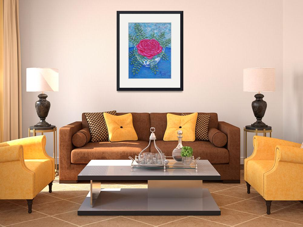"""""""Rose in a Bowl Painting&quot  (2007) by catnip009"""