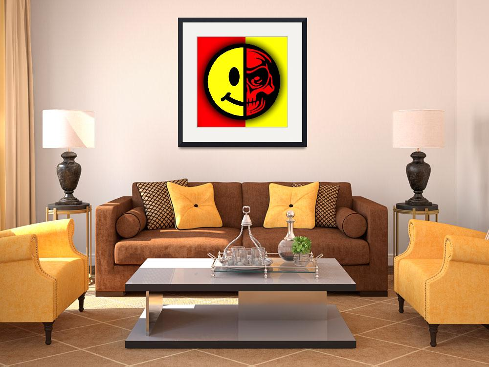 """""""Smiley Face Skull Yellow Red Border&quot  (2018) by RubinoFineArt"""