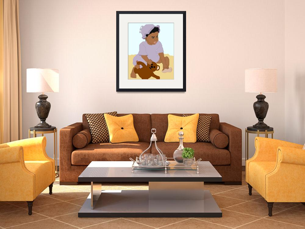 """""""Toddler and Teddy""""  (2008) by pharrisart"""