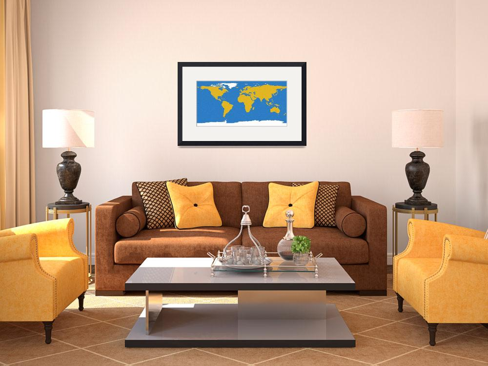 """""""Ocean swirls world map&quot  (2012) by gsquared"""