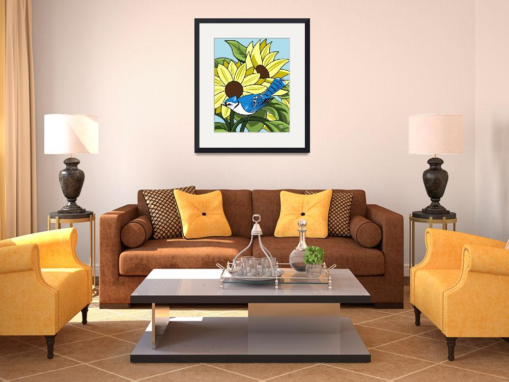 """""""Sunflowers and BlueJay&quot  by waterart"""