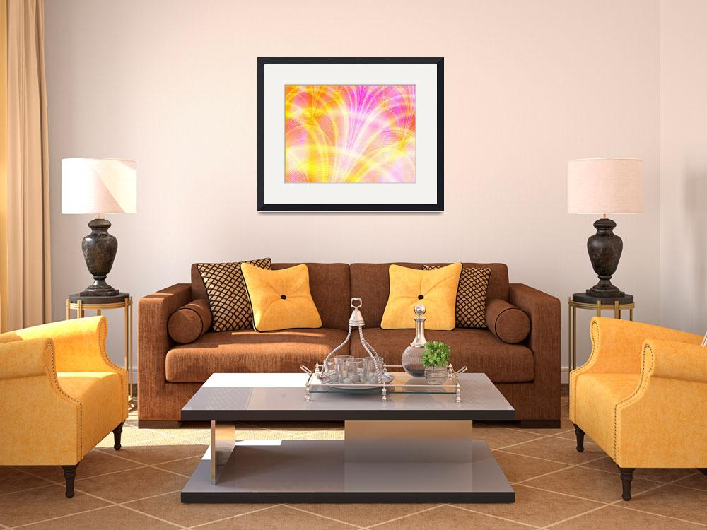 """""""Beautiful Pink and Yellow Fractal&quot  (2007) by LisaEwingArt"""