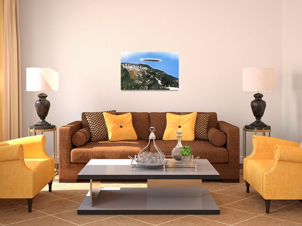 """""""Hollywood Sign And Blimp""""  by RubinoFineArt"""