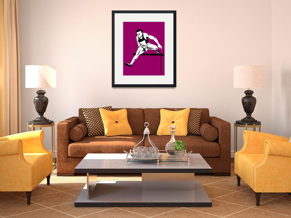 """""""track and field athlete jumping hurdle&quot  (2013) by patrimonio"""