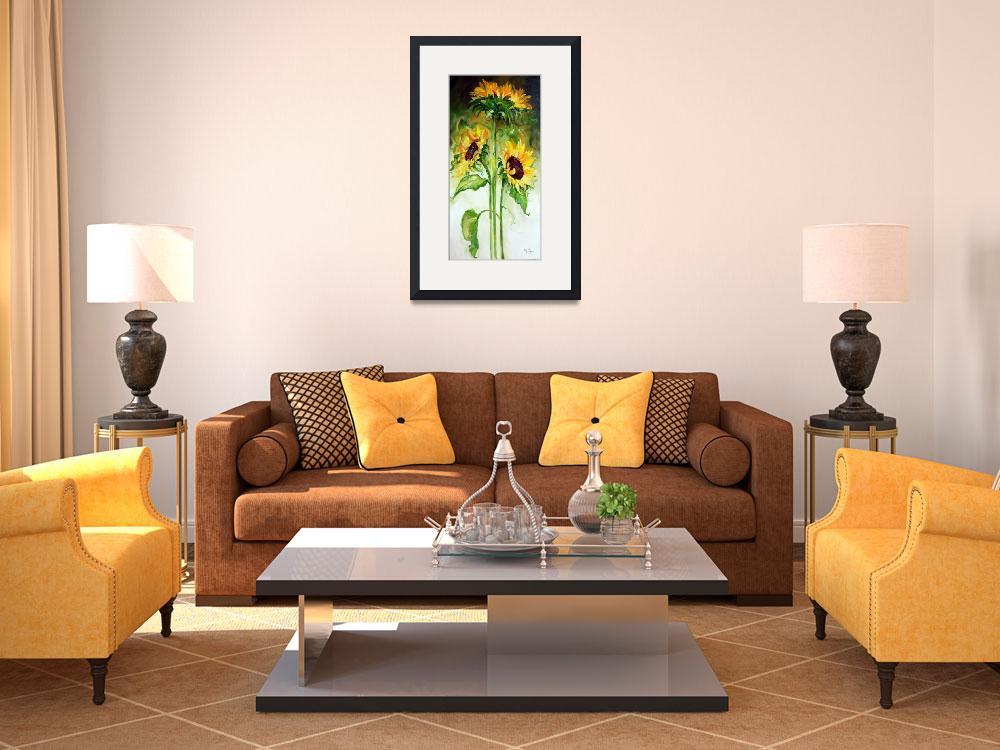 """TRIPLE SUNNY SUNFLOWERS&quot  (2010) by MBaldwinFineArt2006"
