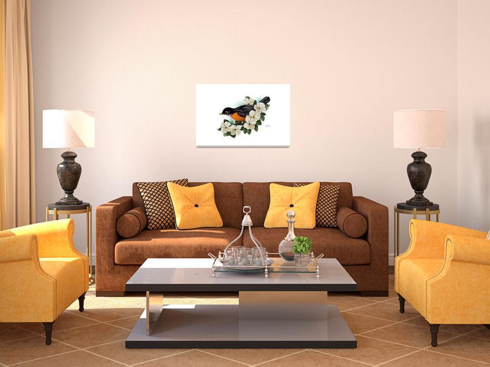 """""""American Robin Art&quot  by waterart"""