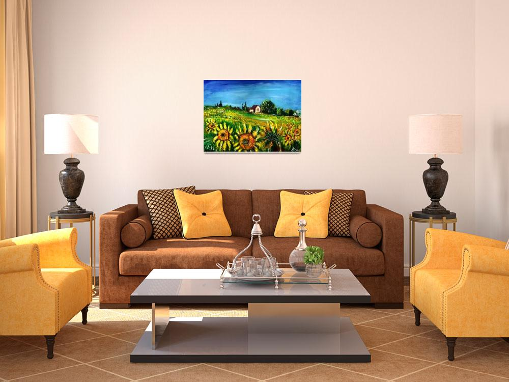 """Sunflowers in Countryside of Tuscany""  (2009) by BulganLumini"
