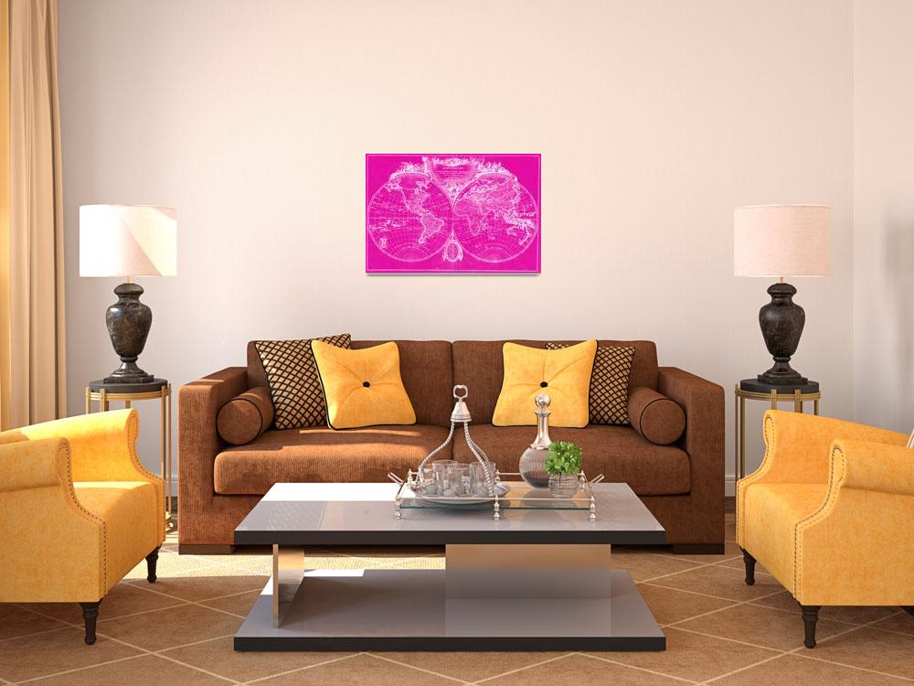 """""""World Map (1775) Pink & White&quot  by Alleycatshirts"""