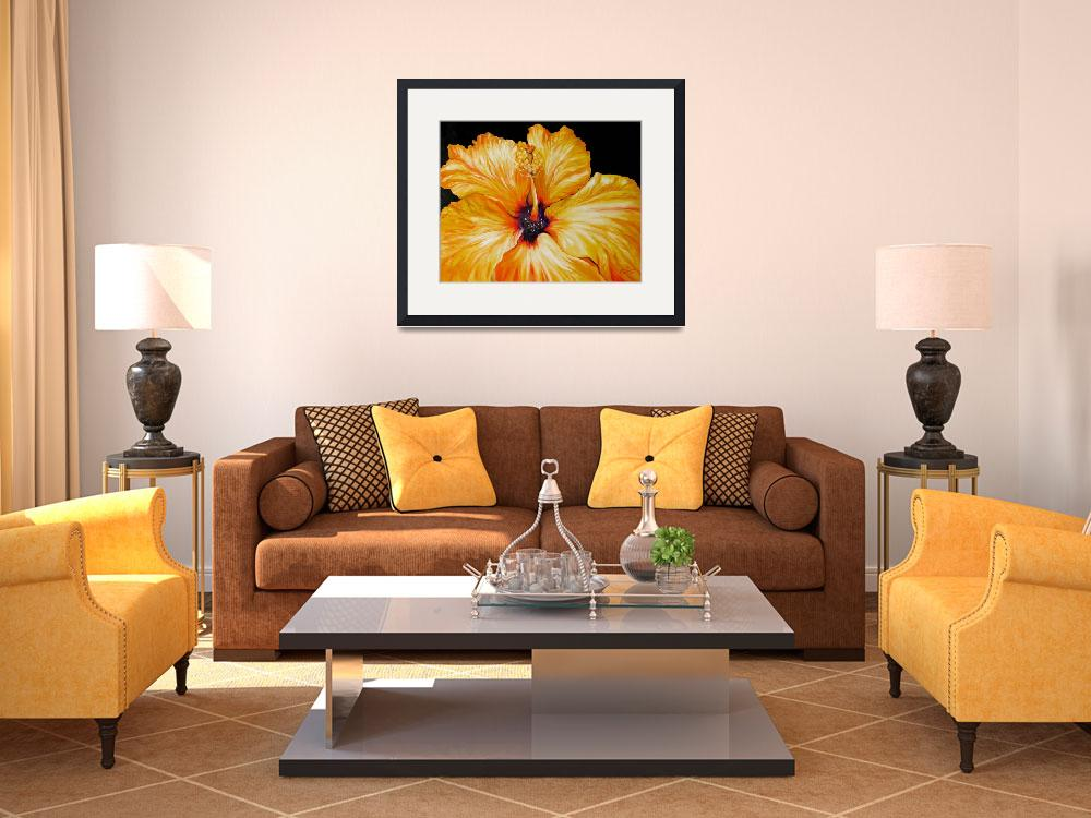 """""""Yellow Hibiscus April 2007 by M Baldwin""""  by MBaldwinFineArt2006"""