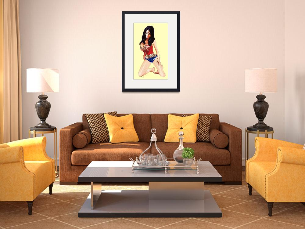 """""""Wonder Woman Knealing Yellow Background&quot  (2013) by Automotography"""