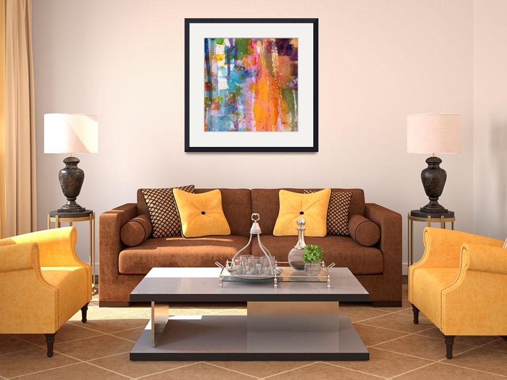 """""""Orange Slice Square Abstract Watercolor Art Ginett&quot  (2011) by GinetteCallaway"""