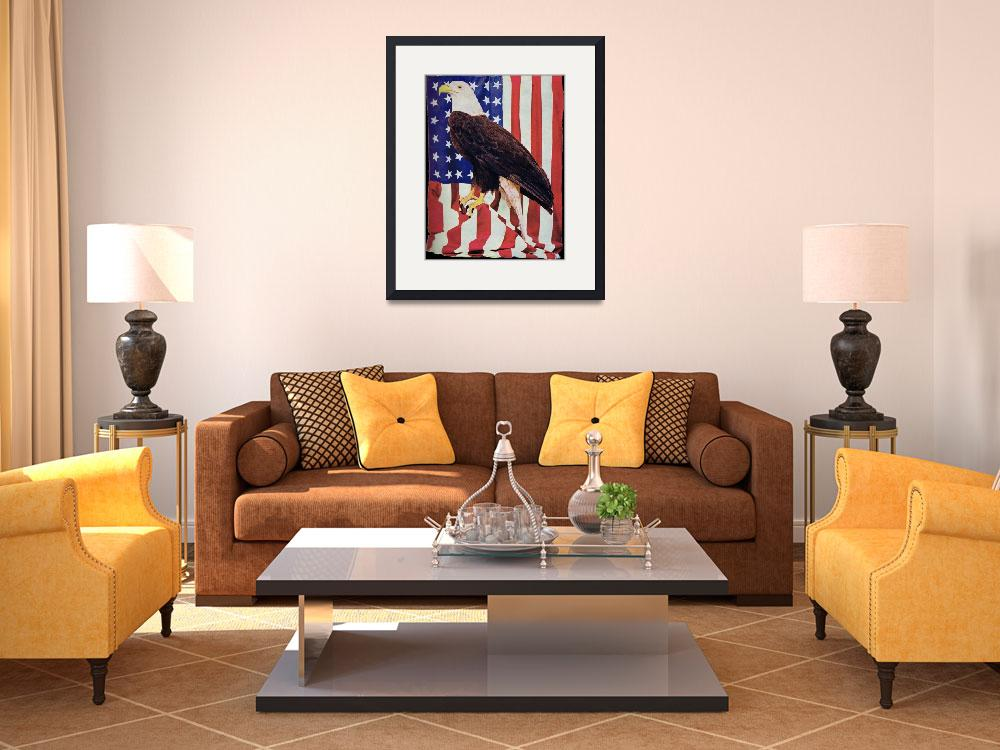 """American Bald Eagle and US Flag&quot  (2010) by birthdaygifts"