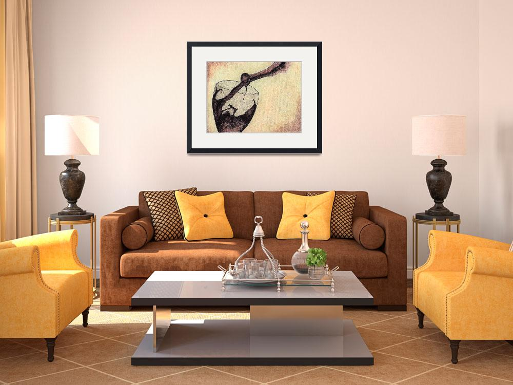 """""""Wine Glass In Action. Fine art by Doug Ashby.""""  (2011) by drawingwithdots"""