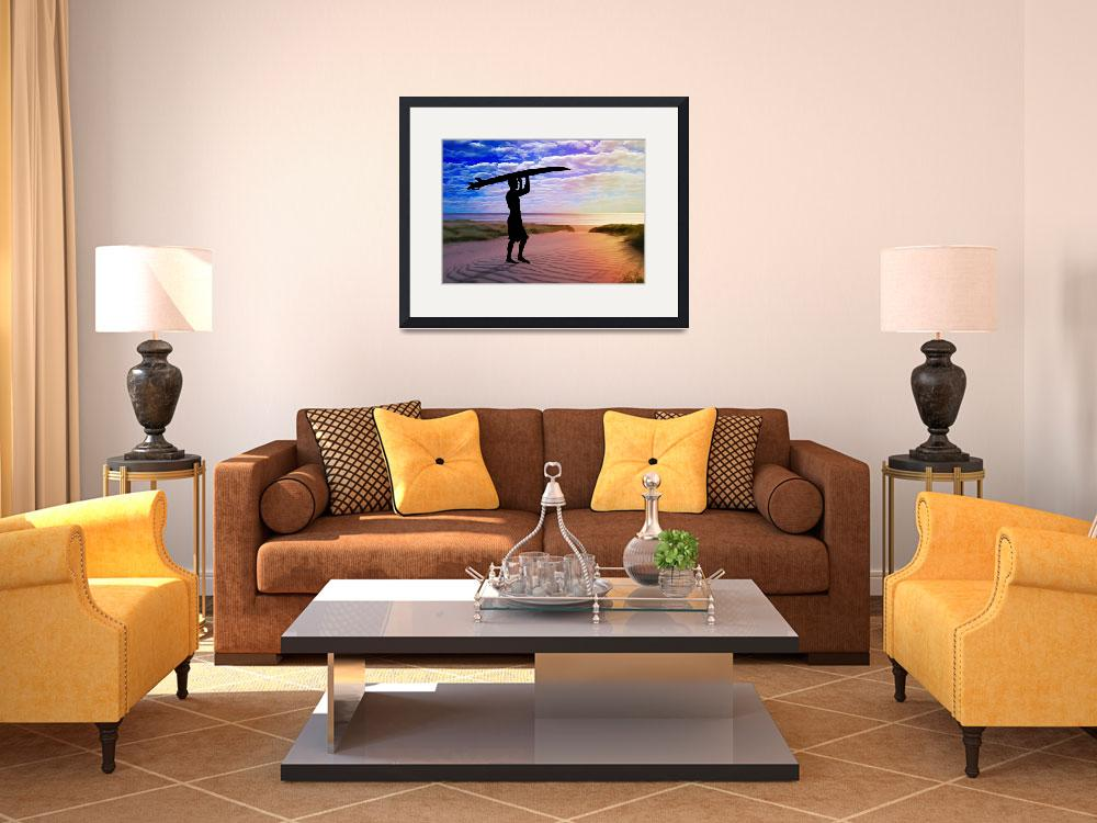"""""""Sunset Surfer Sand and Clouds Art&quot  by ElainePlesser"""