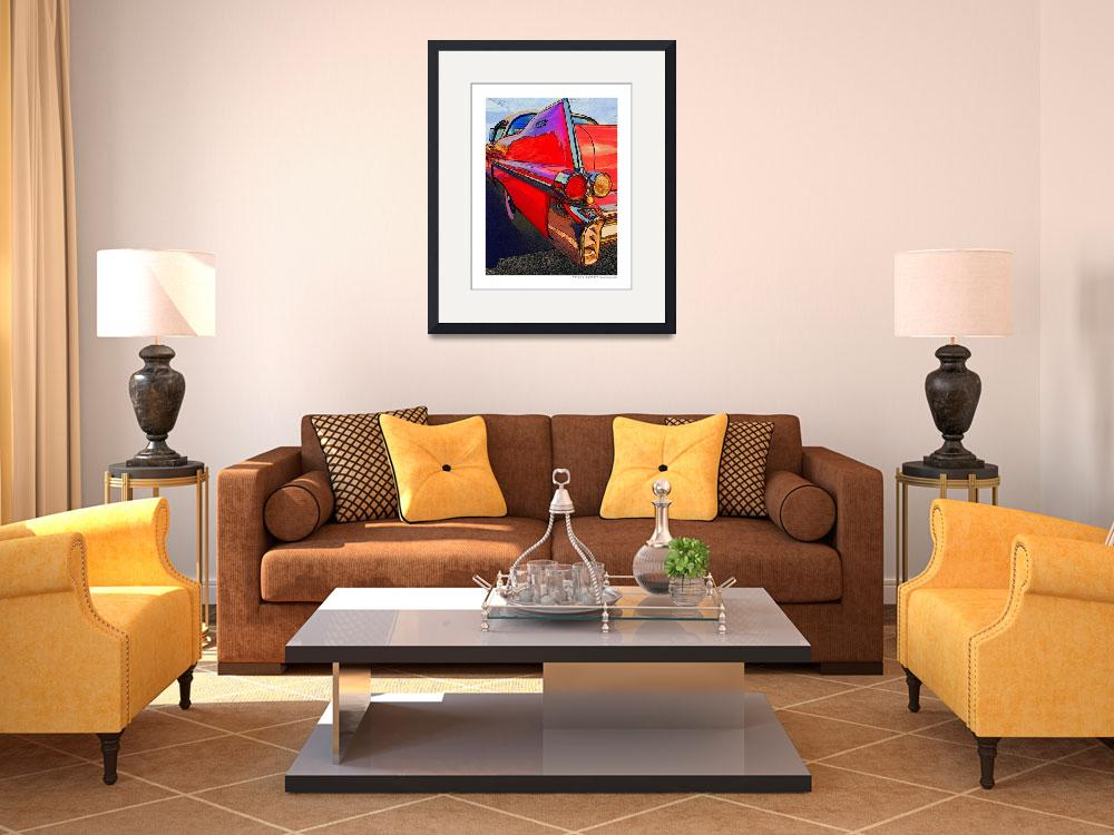 """""""1957 Cadillac Coupe Deville Red Fin Driver Side&quot  (2007) by Automotography"""