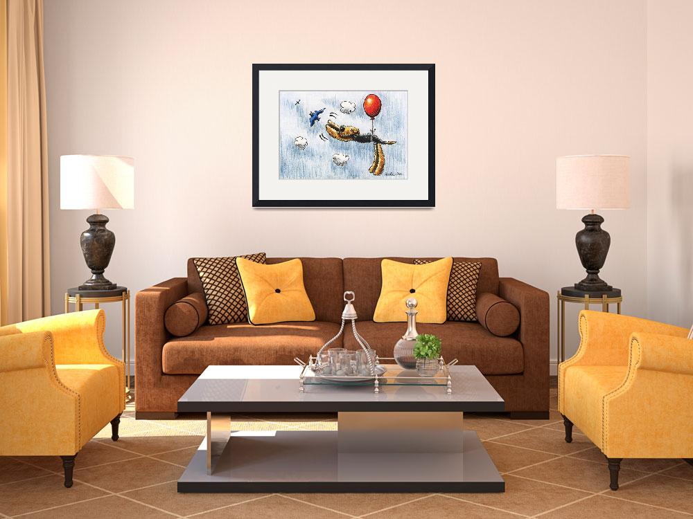 """Airedale Terrier Air Balloon Bird Dog&quot  (2011) by OffLeashArt"