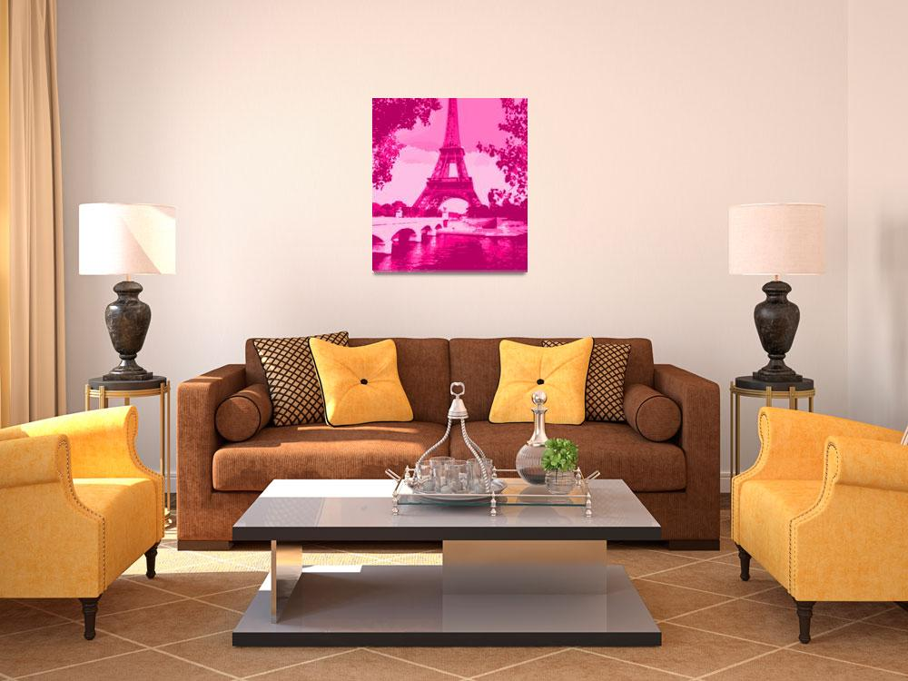 """Eiffel Tower Seine River Enhanced Pink Cropped&quot  (2013) by TheNorthernTerritory"