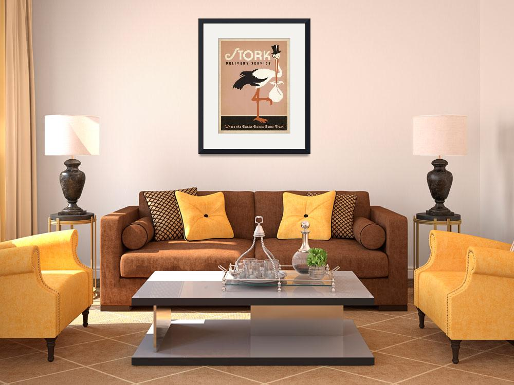 """""""Stork Delivery Service in Pink Retro Poster""""  by artlicensing"""