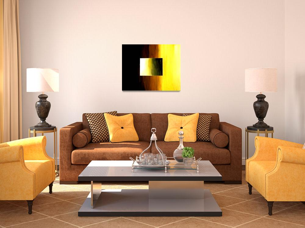 """ABSTRACT 3D  YELLOW  GOLDEN SQUARE&quot  (2006) by teofaith"