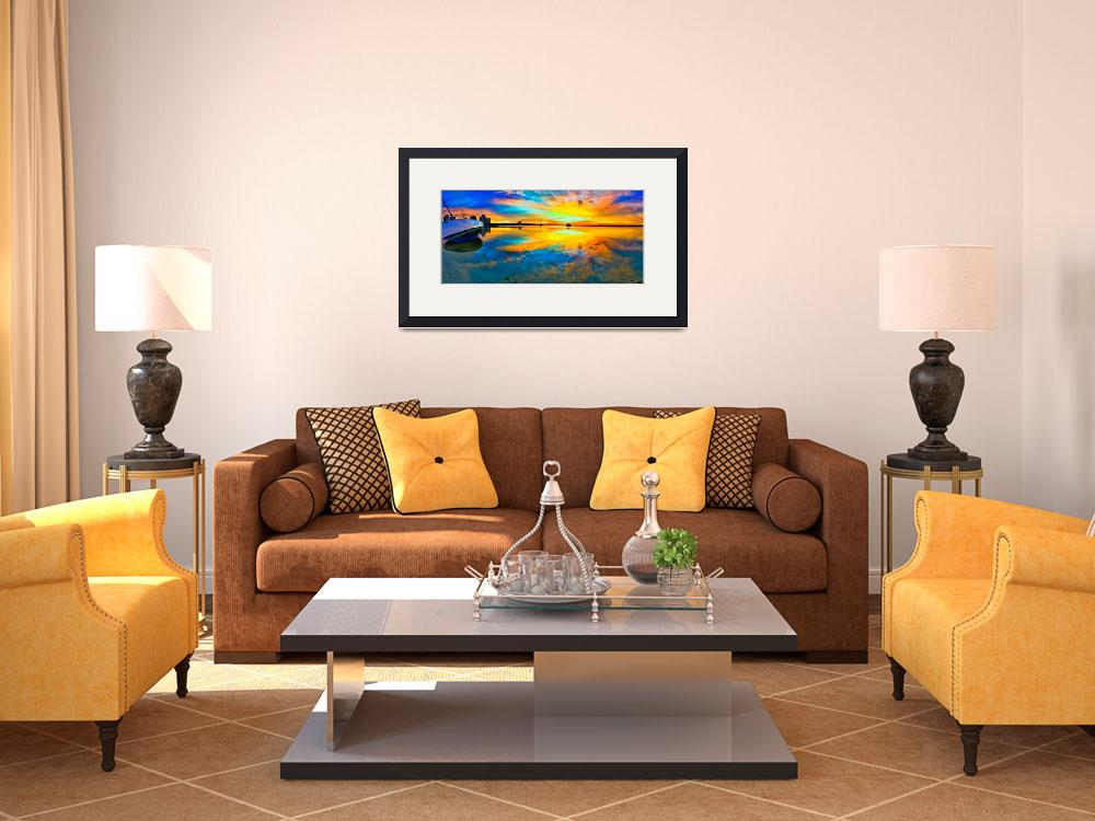 """""""panoramic-beach-sunset-reflection-wall-art-print&quot  (2014) by eszra"""