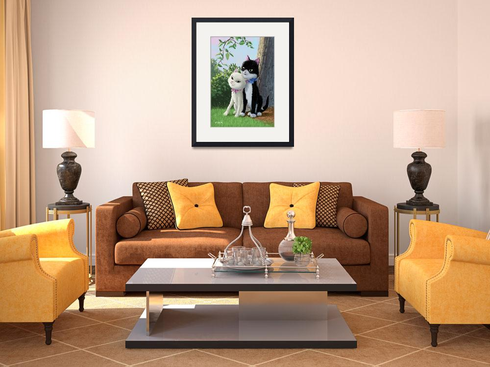 """""""two romantic cats in love""""  (2011) by martindavey"""