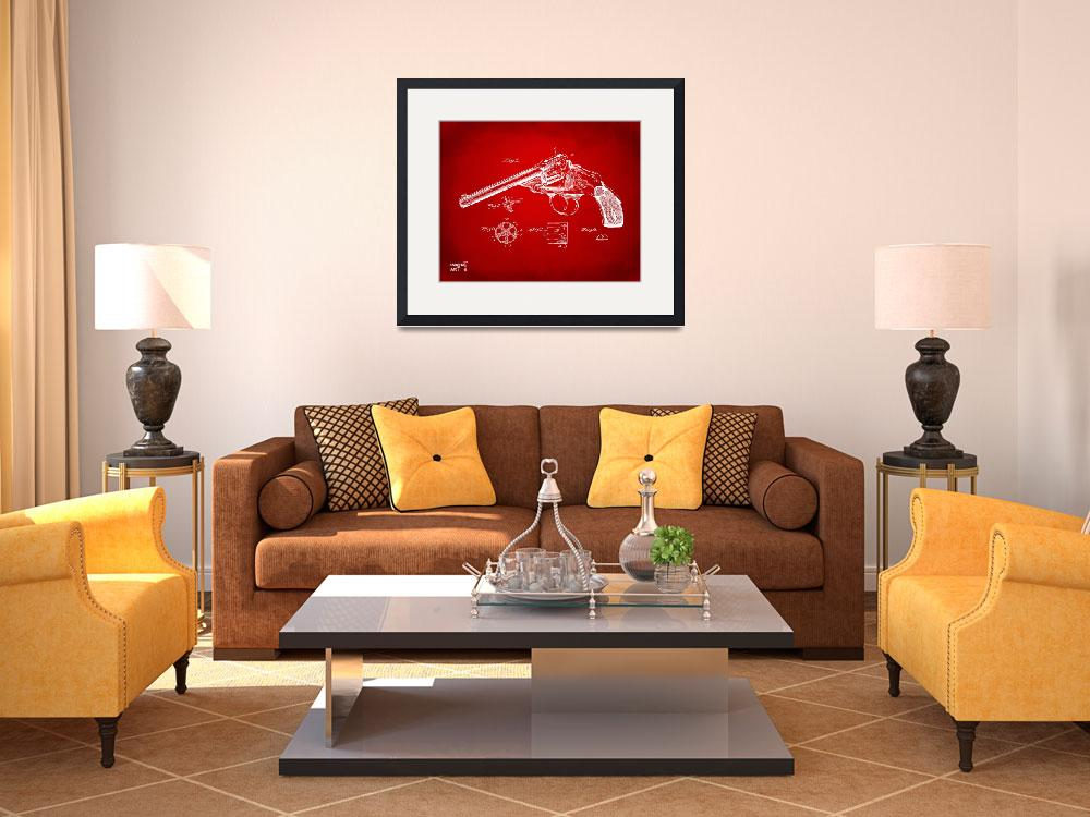 """""""Wesson 1889 Revolver Patent Minimal Red&quot  (2014) by nikkismith"""