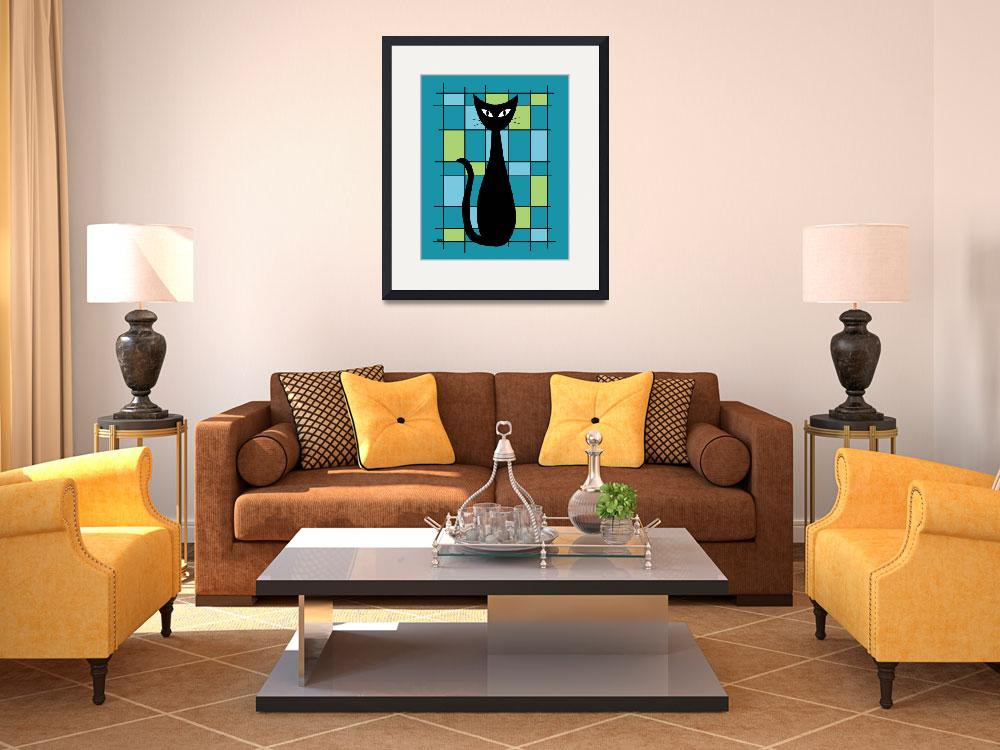 """""""Abstract with Cat in Teal""""  by DMibus"""