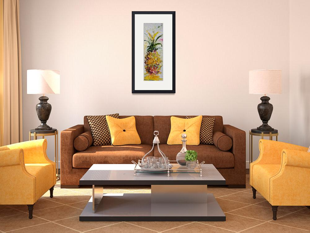 """""""Modern Pineapple Expressive Oil Painting""""  (2012) by GinetteCallaway"""