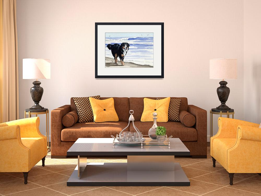 """""""Bernese Mountain Dog at the Beach&quot  (2013) by k9artgallery"""