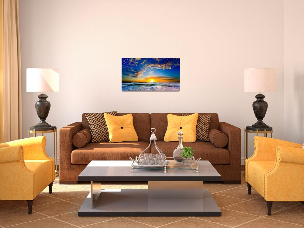 """sunset orange blue florida sunset beautiful beach&quot  by eszra"