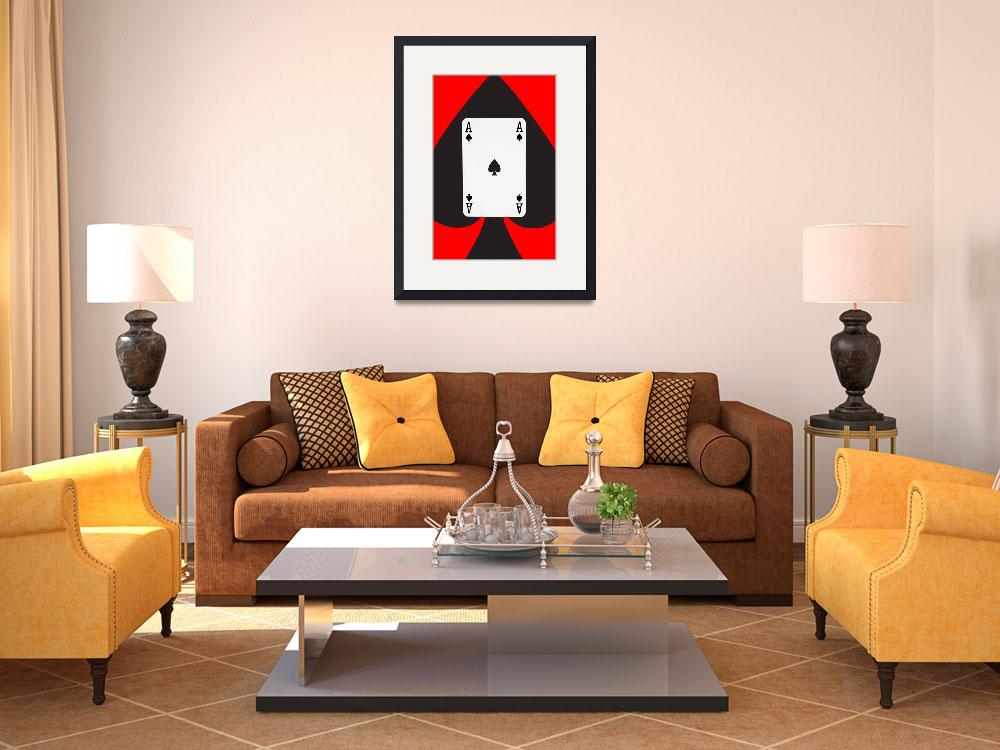"""""""Playing Cards Ace of Spades on Red Background&quot  by NatalieKinnear"""