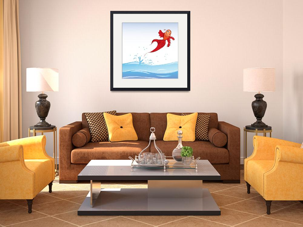 """""""Beautiful red fish jumping out of water""""  by lirch"""
