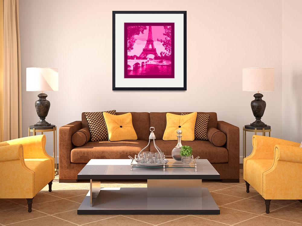 """""""Eiffel Tower Seine River Enhanced Pink Cropped bor&quot  (2013) by TheNorthernTerritory"""