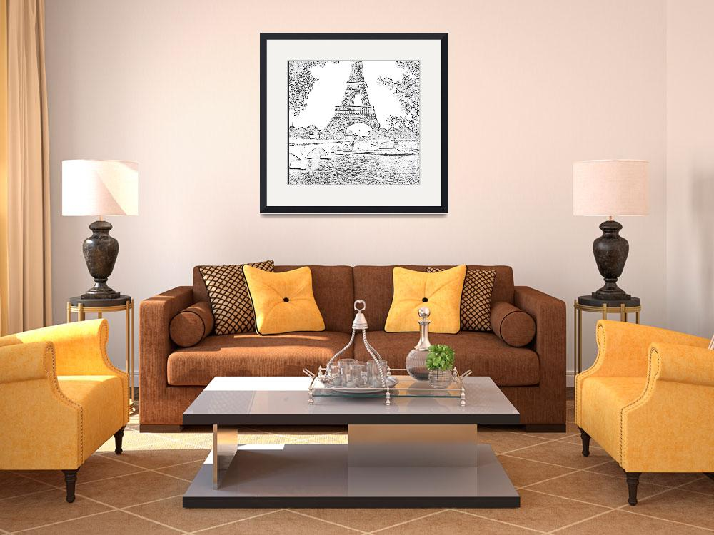 """Eiffel Tower Seine River Charcoal Cropped x 2""  (2013) by TheNorthernTerritory"
