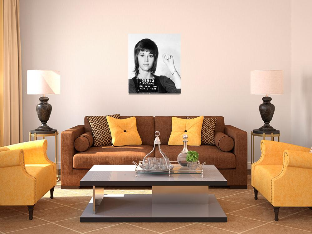 """Jane Fonda Mug Shot Horizontal""  by RubinoFineArt"