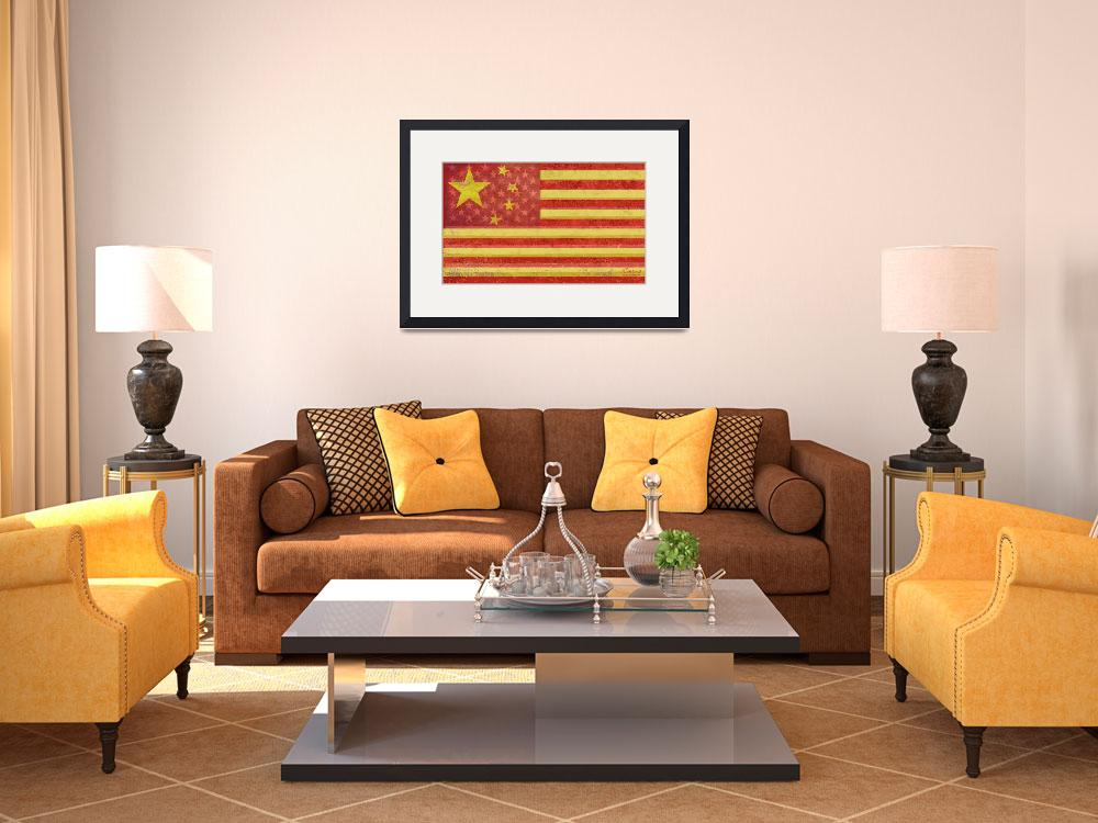 """Chinese American Flag Blend""  (2013) by RubinoFineArt"