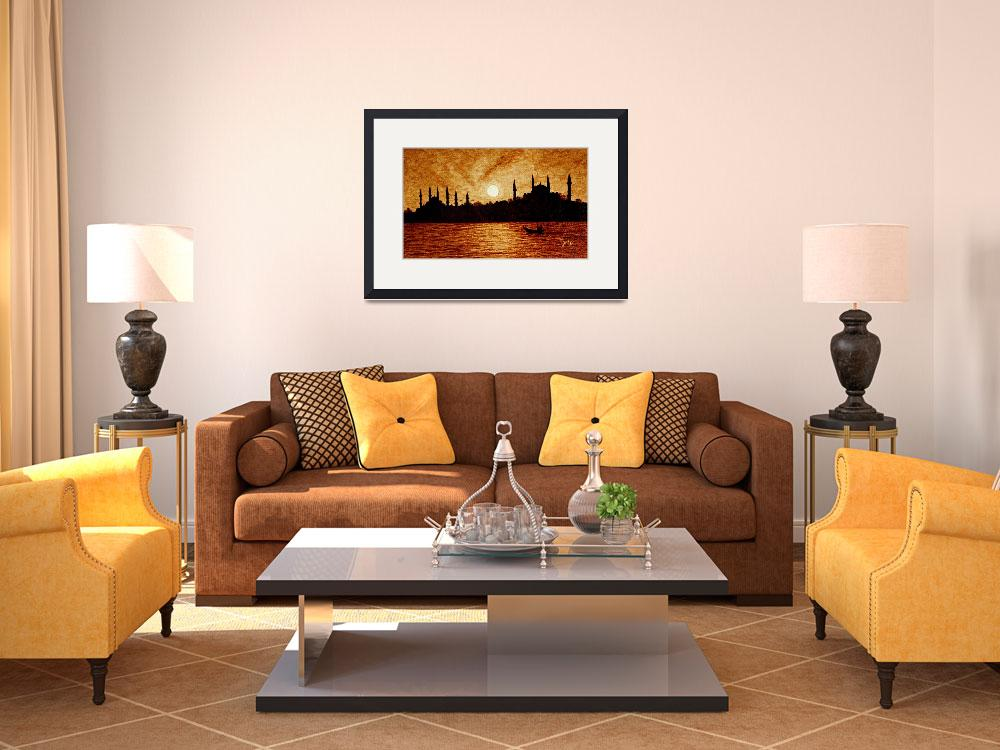 """""""Sunset over Istanbul original coffee painting&quot  (2011) by georgeta-blanaru"""