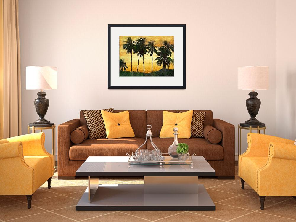 """""""Palm Trees at Sunset&quot  (2009) by talgreen"""