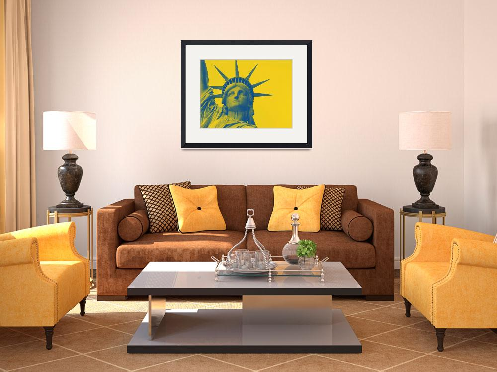 """""""statue of liberty in yellow&quot  by motionage"""